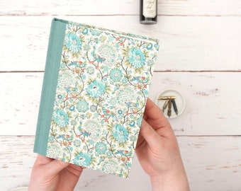 A5 Notebook, Journal or Planner. Handmade blank book for your daily thoughts and notes. Ornate peacock patterned cover in teal.