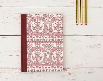 Quality bullet journal, handmade notebook and sketchbook. Ideal for writing, to-do lists or drawings. Maroon and Cream. Gifts for writers.