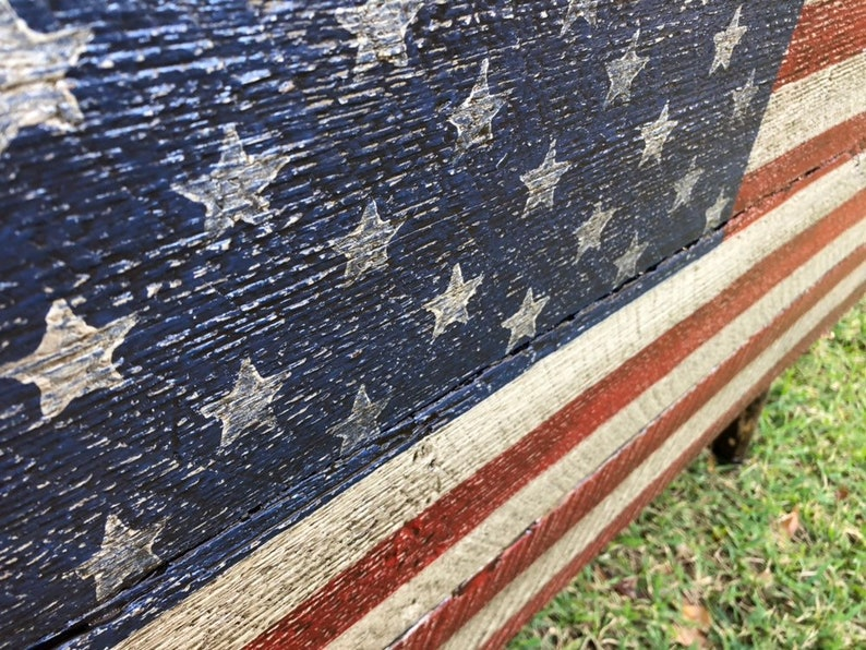 Wood American Flag On Vintage Barn Wood Siding 42x23 Rustic Distressed Folk Art Gift For A Veteran Christmas Gift Indoor Outdoor