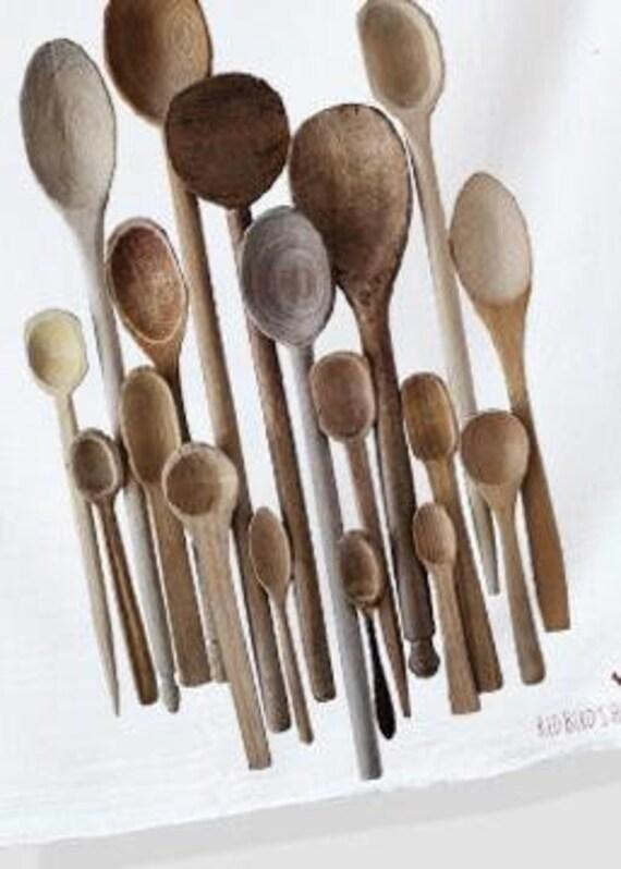 Serviette de cuisine, ce qui donne en facile en imprimé Vintage cuillères en bois, Style ferme moderne, à la main.