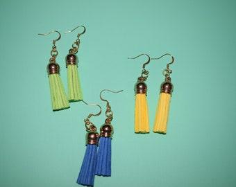 Colorful Tassel Earrings! Boho Green Blue Yellow Leather Tassel Dangle Earrings, Gift Idea, Hippie Pretty Fun Simple Bright Happy Fun! :)