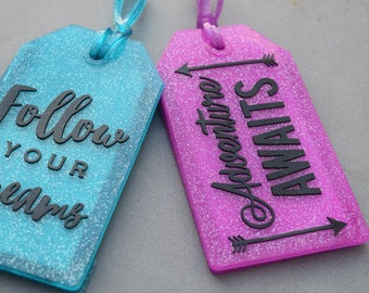 Glitter Luggage Tags! Follow Your Dreams, Adventure Awaits, Sparkles, Travel, Missionary gift idea! Adoption, shop for a cause, ministry