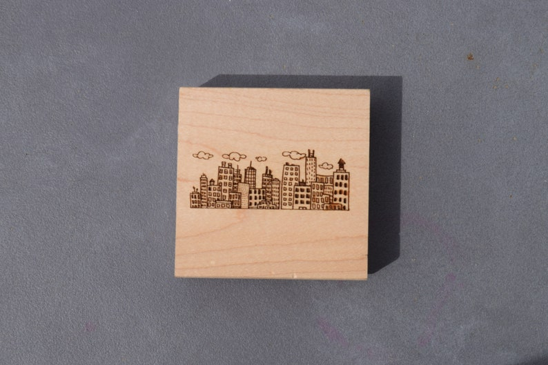Paper crafts CityScape Rubber Stamp Scrapbooking Art Collage Cute Buildings!! Wood Block City Buildings Skyscrapers Skyline Cardmaking