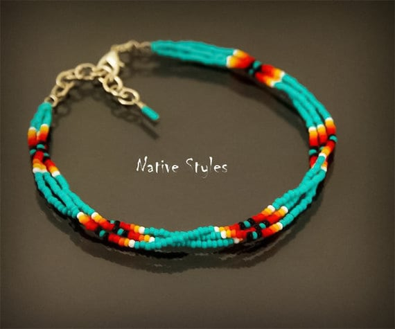 Turquoise Red Black Beaded Anklet Ankle Bracelet Tribal Native American Made
