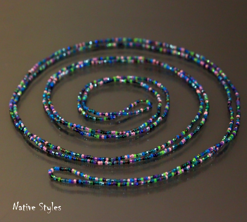 78Peacock Confetti Beaded Necklace,Hippie Bohemian Seed Bead Necklace,Wrap Necklace,Dainty Beaded Ocean Shimmering,Hippie Layered,No Clasp