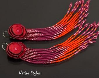 "6.5""Rustic Leather Rose Bohemian Earrings,Tribal Fringe Seed Bead Earrings,Unique Boho Shoulder Dusters,Leather Flower Chevron Pink Orange"