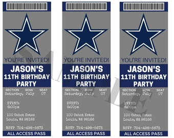 Dallas Cowboys Birthday Ticket Party Invitations... Custom f6f59d633