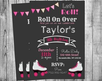 Roller Skating Party Invitation  DIGITAL FILE