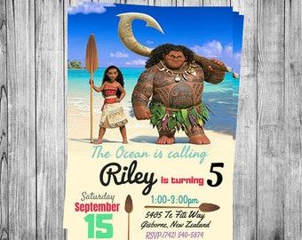 Custom Disney's Moana themed Birthday Personalized  Invitation DIGITAL FILE, You Print