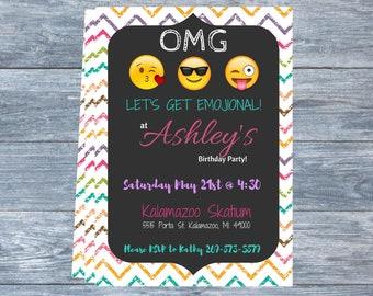 Emoji Themed  Birthday Party Invitation  DIGITAL FILE