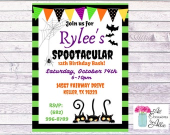 Halloween Themed  Birthday or Halloween Party Invitations...  Custom, Personalized DIGITAL FILE