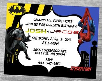 Spider Man VS. Batman Birthday Party Invitations...  Custom, Personalized DIGITAL FILE