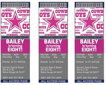 Girl's Dallas Cowboys Birthday Party  Ticket Invitations...  Custom, Personalized DIGITAL FILE, You Print