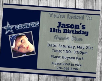 Dallas Cowboys Party Invitations...  Custom, Personalized DIGITAL FILE