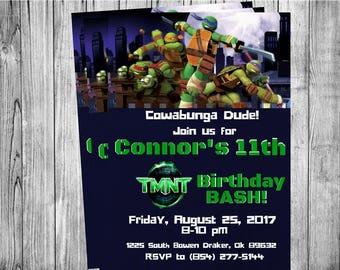 TMNT Teenage Mutant Ninja Turtles Invitation...  Custom, Personalized DIGITAL FILE, You Print
