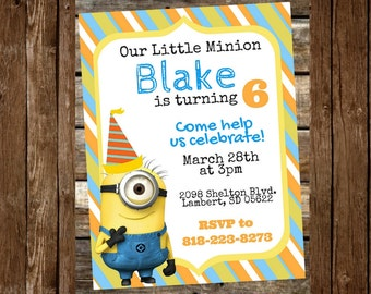 Minion Party Invitations...  Custom, Personalized DIGITAL FILE, You Print