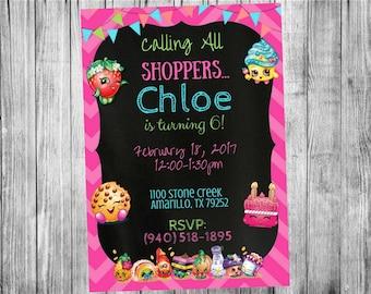 Shopkins Invitation...  Custom, Personalized DIGITAL FILE, You Print