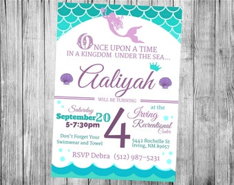 Mermaid Party Invitations...  Custom, Personalized DIGITAL FILE, You Print