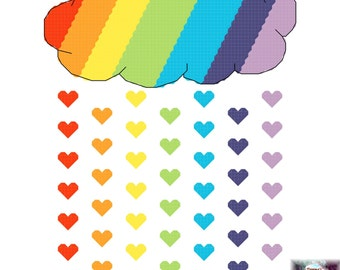 rainbow drops of love with white cloud 17 cross stitch etsy
