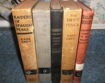 Mixed lot of vintage hardback zane grey books