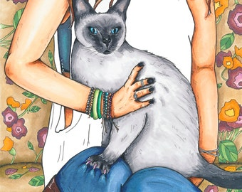 """8x10 Print """"The Rambler, The Gambler, The Back Biter"""" Illustration. Graphic. Siamese Cat. Jewelry. Animals. Dark humor. Pen and ink."""