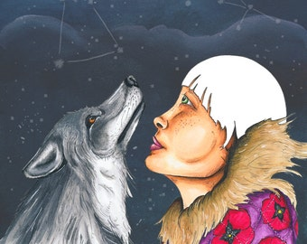 """8x10 Print """"Waited For The Riddled Sky To Be Solved Again"""" Portrait. Illustration. Graphic. Stars. Constellations. Wolf. Night sky."""