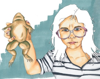 """8x10 Print """"To Rule My World"""" Portrait. Illustration. Graphic. Frog. Toad. Pen and ink."""