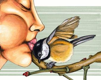 "8x10 Print ""Fly Through My Window My Sugar Lump"" Portrait. Illustration. Graphic. Chickadee. Bird. Pen and ink."