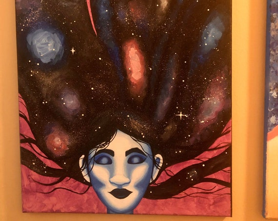 Galaxy hair girl 16 by 20 purple and blue painting