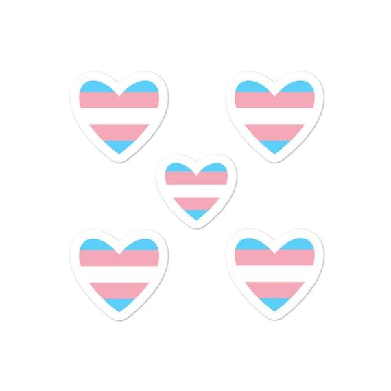 Trans heart Bubble-free sticker pack