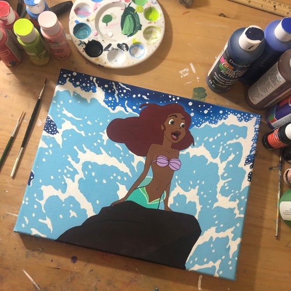Black Little Mermaid acrylic painting on 11 by 14 canvas
