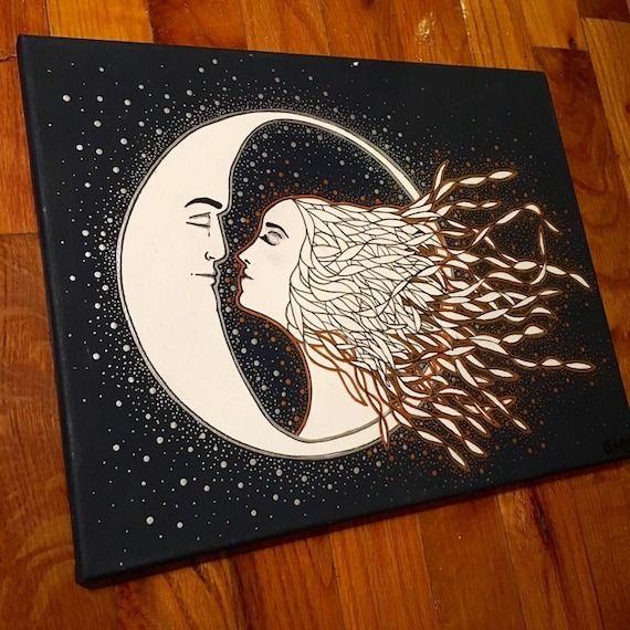 You are my Sun you are my Moon 11 by 14 navy and metallic painting
