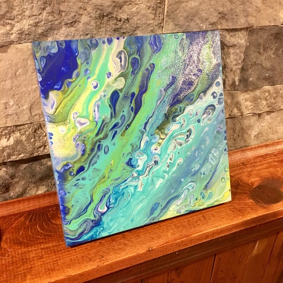 Aqua and blue 10 by 10 pour on wood canvas