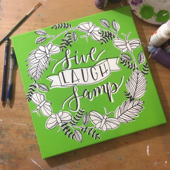 Live Laugh Lamp Green 12 by 12 original acrylic moth painting
