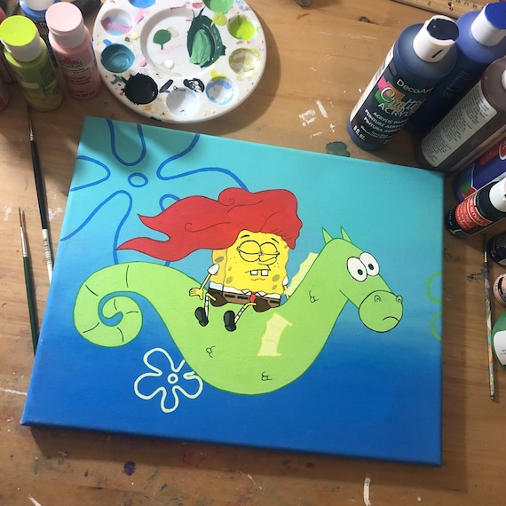 I knew I should have called her Debbie- 11 by 14 Spongebob acrylic painting