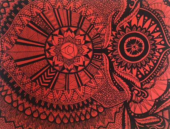 Red Zendoodle 16 by 20 haind painted red and black painting