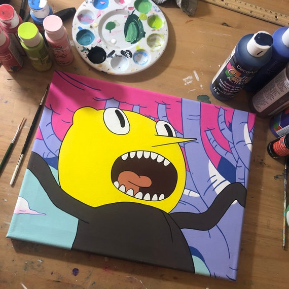 Unacceptable! Lemongrab Adventure Time 11 by 14 acrylic painting