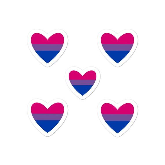 Bi Heart Bubble-free sticker pack