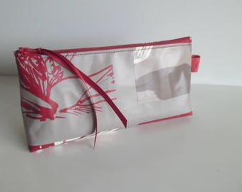 Clutch pencil or makeup red and taupe