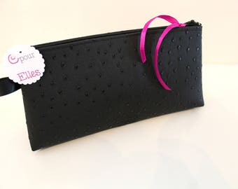 Black satin clutch in faux leather
