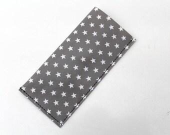 Pill case / pillbox woman grey and white stars