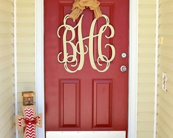 Door Hanger Wooden Monogram Sign Wall Decor, Unpainted Monogram Three Letter Wall hanging Wedding Guest Book Sign