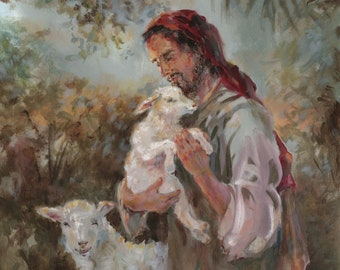 Contemplating the Lamb . . . of God ---- Top-Quality Print of an Acrylic Painting of Jesus Christ and the Lost Lamb