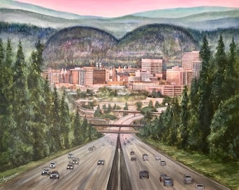 """Home is where the heart is. View coming home to Spokane. 24"""" x 30"""" gallery wrapped canvas print"""
