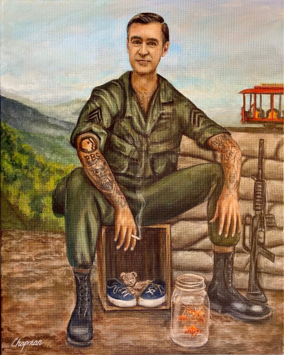 Mr Rogers Soldier With Tattoos Original Painting Etsy