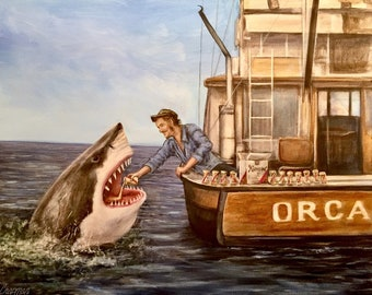 """16x20"""" Drinking buddies.(print) Quint pours a beer into Jaws' mouth. Shark drinking a beer"""