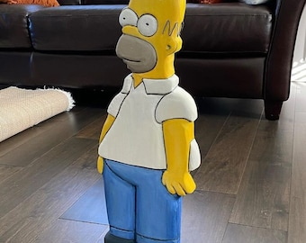 """Wooden homer Simpson 24"""" x 10"""" x 1.5"""" Douglas fir painted with wire hair"""