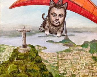 """Leonardo Da cat Rio Leonardo DiCaprio in a hang glider above real as a cat 16""""x20"""" acrylic paining."""