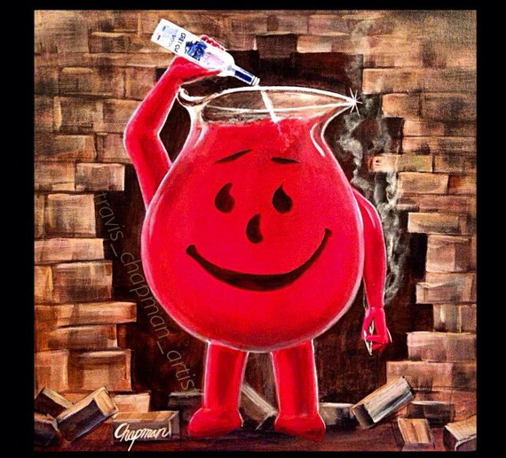Koolaid man pouring vodka into his head. And smoking weed   Etsy