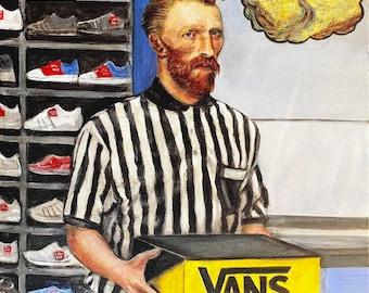 "Day job Vincent van Gogh working at footlocker. original painting 16"" x 20"" on canvas"